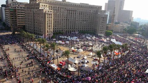 Crowds gather in Cairo, Egypt Stock Video Footage