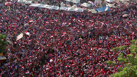 Protestors demonstrate in Cairo, Egypt Stock Video Footage