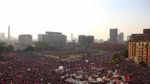 Crowds gather in Tahrir Square in Cairo, Egypt Footage