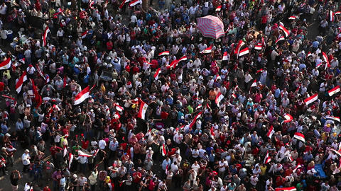 Overhead view of protestors in Cairo, Egypt Stock Video Footage