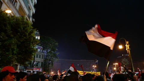 Flags wave above the crowd at a nighttime protest  Footage