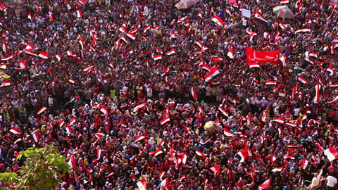 Protestors jam Tahrir Square in Cairo, Egypt Stock Video Footage