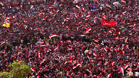 Protestors jam Tahrir Square in Cairo, Egypt Stock Video Footage
