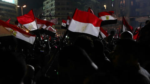 Protestors wave flags at a large nighttime rally i Stock Video Footage
