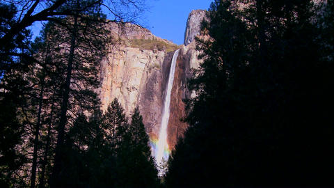Pan across a beautiful waterfall in Yosemite Natio Stock Video Footage