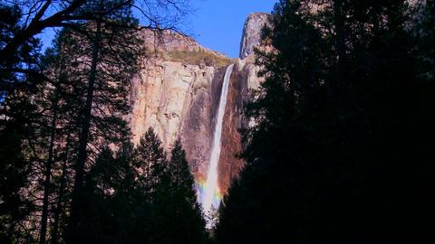 Pan across a beautiful waterfall in Yosemite Natio Stock Video Footage