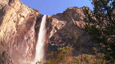 Low angle pan across a beautiful waterfall in Yose Stock Video Footage