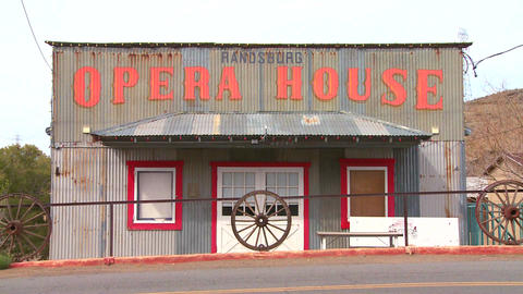 The Opera House in the old Western mining town of  Footage