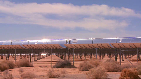 A solar farm in the desert generates electricity Footage