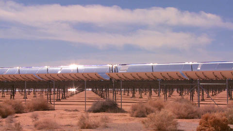 A solar farm in the desert generates electricity Stock Video Footage