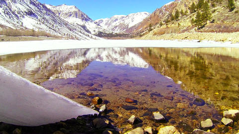 The camera moves from under a glacier to reveal a Stock Video Footage