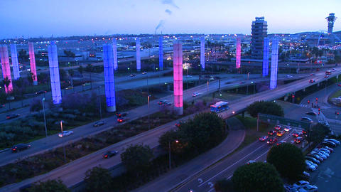 The colorful lights of Los Angeles International a Stock Video Footage