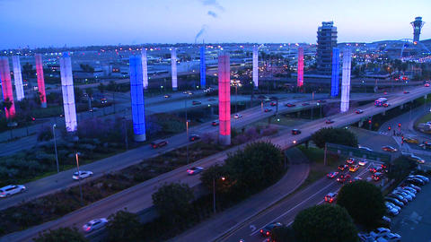 The colorful lights of Los Angeles International a Footage
