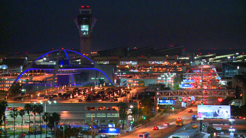 Thousands of travelers arrive at Los Angeles Inter Stock Video Footage