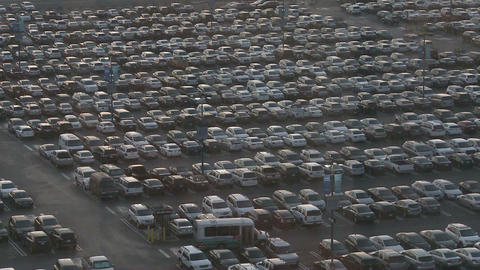 Thousands of cars in a crowded parking lot Stock Video Footage