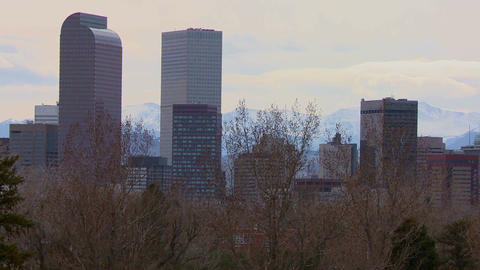 The Denver Colorado skyline in beautiful light wit Stock Video Footage