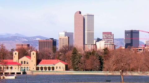 The Denver Colorado skyline in beautiful light Footage