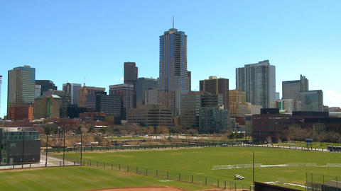 The skyline of Denver Colorado skyline ion a sunny Footage