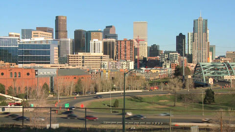The skyline of Denver Colorado skyline ion a sunny Live Action