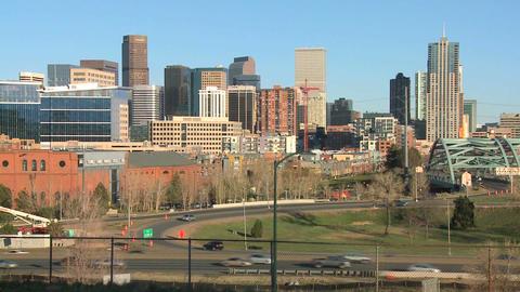 The skyline of Denver Colorado skyline ion a sunny Stock Video Footage