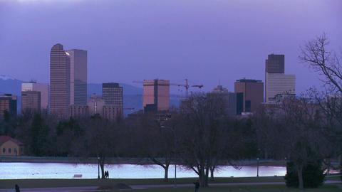 The skyline of Denver Colorado skyline at night Stock Video Footage