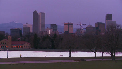 The skyline of Denver Colorado skyline at dusk in  Footage