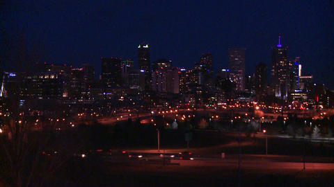 The skyline of Denver Colorado skyline at night Footage