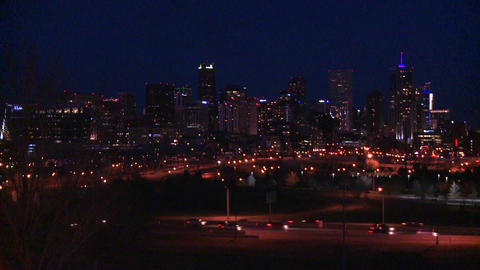 The skyline of Denver Colorado skyline at night Stock Video Footage