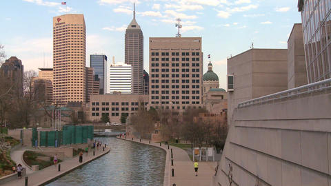 Establishing shot of Indianapolis, Indiana Stock Video Footage