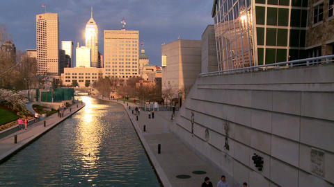 Wide shot of Indianapolis Indiana river walk at du Footage
