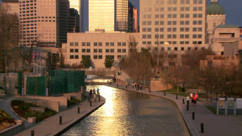 Zoom out from Indianapolis Indiana river walk at d Footage