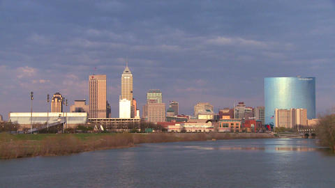 The city of Indianapolis at dusk along the White R Footage