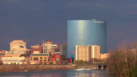 The city of Indianapolis at dusk along the White R Stock Video Footage