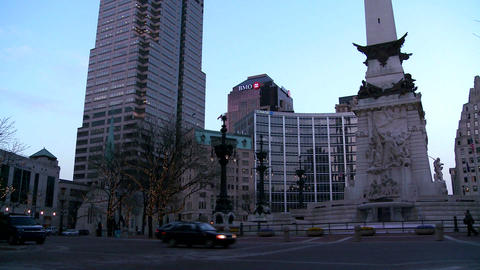 Tilt up to downtown buildings of Indianapolis Indi Stock Video Footage