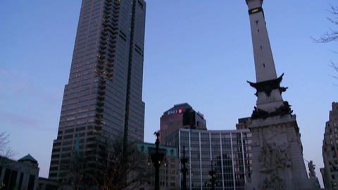 Tilt up to downtown buildings of Indianapolis Indi Footage