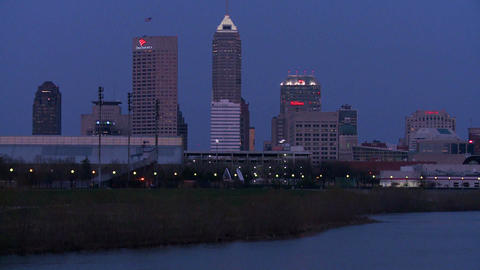 The city of Indianapolis Indiana at dusk with the  Footage
