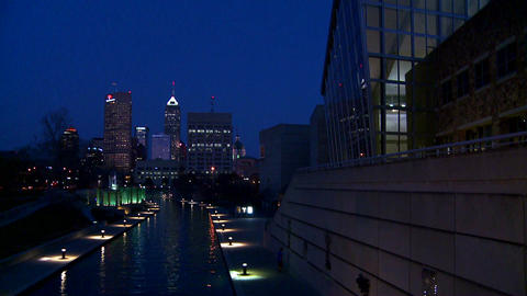 The city of Indianapolis Indiana at night with the Stock Video Footage