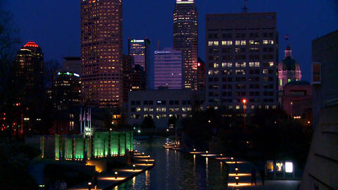 Tilt up to the city of Indianapolis Indiana at nig Stock Video Footage