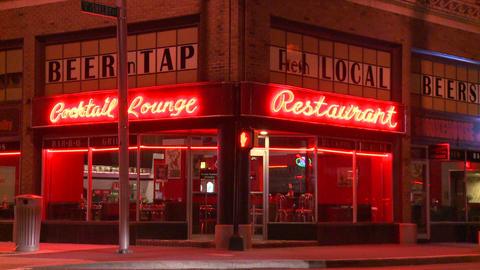 A neighborhood corner cocktail lounge and restaura Stock Video Footage
