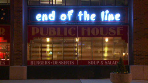 The End of the line bar and grill at night Footage