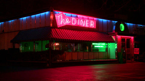 A roadside diner at night Footage