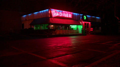 A roadside diner at night Stock Video Footage