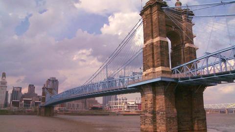 A bridge over the Ohio River leads to Cincinnati O Stock Video Footage