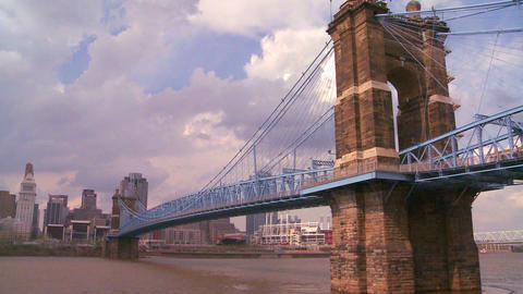 A bridge over the Ohio River leads to Cincinnati O Footage