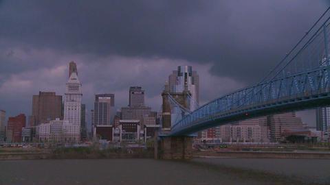Storm clouds over Cincinnati Ohio Stock Video Footage