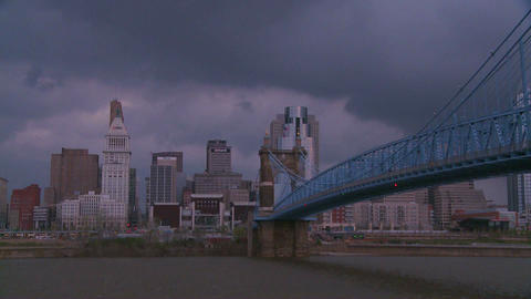 Storm clouds over Cincinnati Ohio Footage
