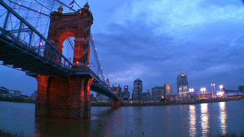 A beautiful night shot of Cincinnati Ohio Stock Video Footage
