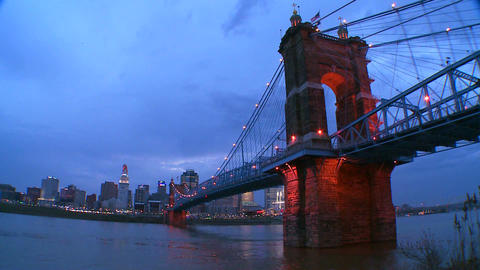 A beautiful night shot of Cincinnati Ohio Stock Video Footage