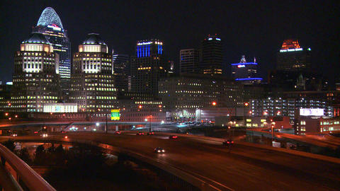 An establishing shot of Cincinnati Ohio at night w Footage