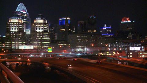 An establishing shot of Cincinnati Ohio at night w Footage